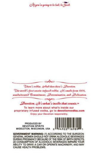 Devotion Casein Vodka Alcohol Back Label
